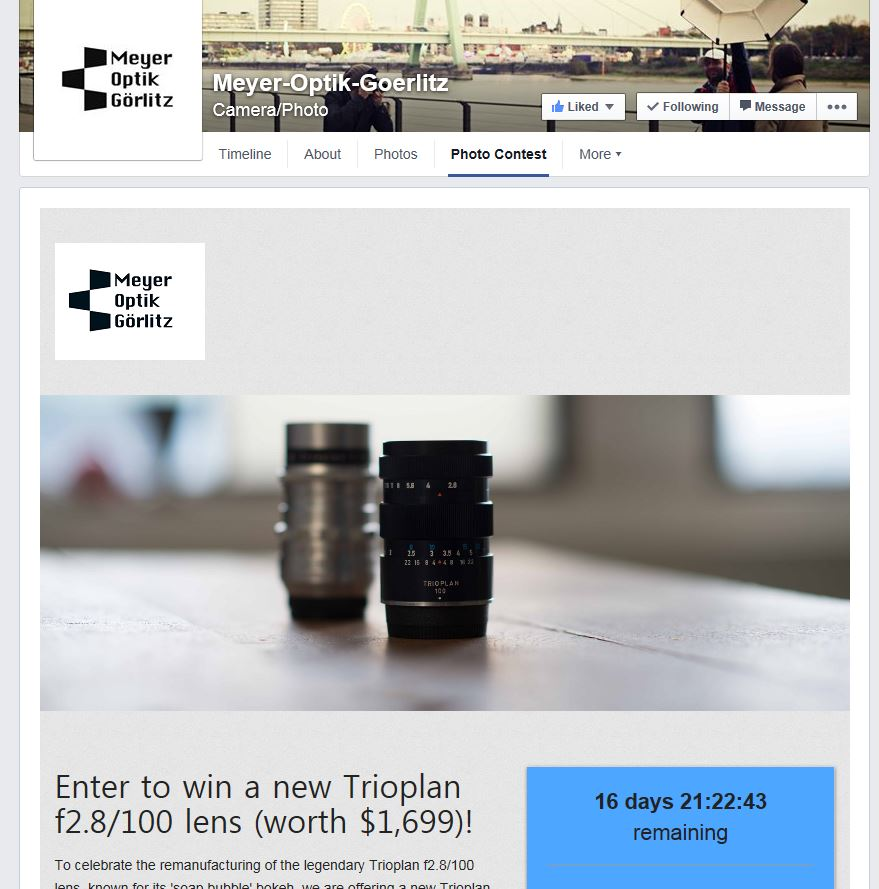Meyer-Optik open photo content, New Trioplan in 1,699 USD for winner (currently only 7 applied)