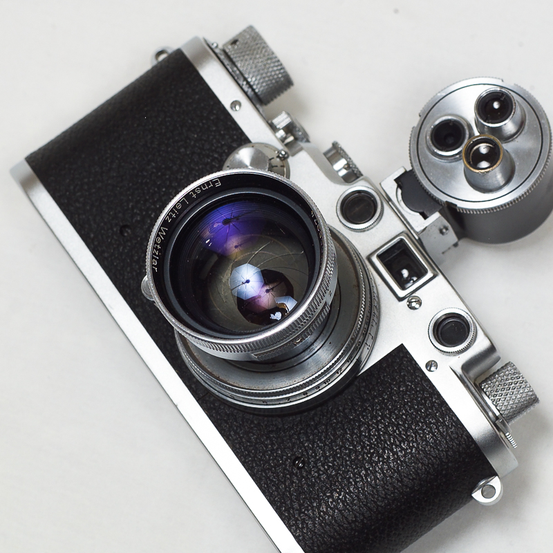 (Sold) Leica IIIc sharkskin, 50mm f2.0 Summitar, Steinhail turret finder & case