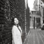 Zhanna in BW, an alley of Iwha village, Seoul city